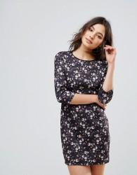 QED London Floral Long Sleeve Shift Mini Dress - Black