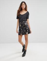 QED London Floral Mini Skirt - Black