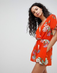 QED London Floral Print Playsuit - Red