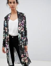 QED London floral printed kimono - Black