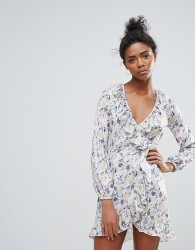 QED London Floral Ruffle Detail Wrap Dress - Multi
