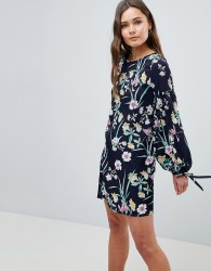 QED London Floral Shift Dress With Tie Detail - Navy