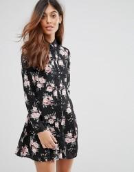 QED London Floral Shirt Dress - Black