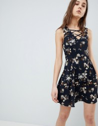 QED London Floral Skater Dress With Lace Up Detail - Navy