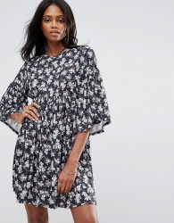 QED London Floral Smock Dress With Frill Detail - Multi