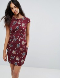 QED London Floral Tulip Pencil Dress - Red