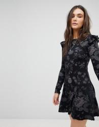 QED London Frill Shoulder Swing Dress - Black