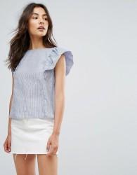 QED London Frill Sleeve Stripe Top - Blue