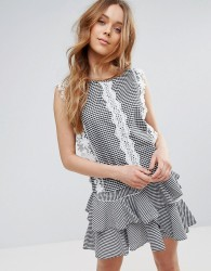 QED London Gingham Top With Crochet Detail - Black