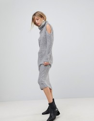 QED London High Neck Midi Dress With Cold Shoulder Detail - Grey