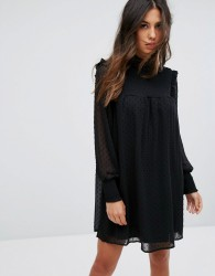 QED London High Neck Shift Dress With Sheer Dobby Overlay - Black