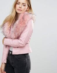 QED London Jacket With Faux Fur Collar - Pink