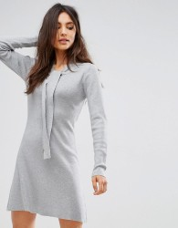 QED London Jumper Dress With Tie Neck Detail - Grey