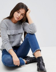 QED London Jumper With Frill Detail - Grey