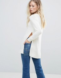 QED London Jumper With Split Sides - White