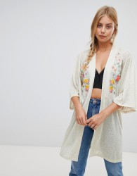 QED London kimono cardigan with floral embroidery - Grey