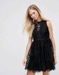 QED London Lace Detail Dress - Black