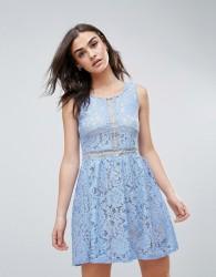 QED London Lace Skater Dress - Blue