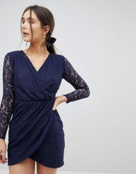 QED London Lace Wrap Front Dress - Navy