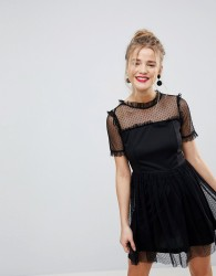 QED London Mesh Dress - Black