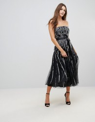 QED London Mesh Insert Bandeau Midi Dress - Black