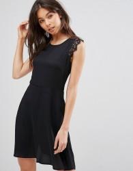 QED London Mini Dress With Lace Shoulder Detail - Black