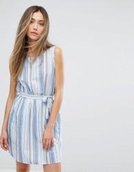 QED London Multi Stipe Tie Waist Dress - Blue