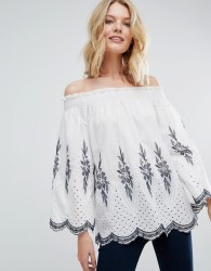 QED London Off Shoulder Embroidered Top - Cream