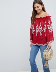 QED London Off Shoulder Embroidered Top - Red