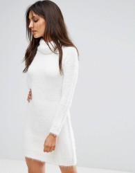 QED London Oversized Roll Neck Jumper Dress - Cream