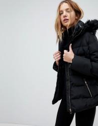 QED London Padded Coat With Faux Fur Trim Hood - Black