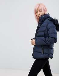 QED London Padded Jacket With Hood - Navy