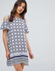 QED London Printed Frill Cold Shoulder Dress - Blue
