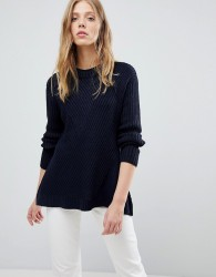 QED London Ribbed Jumper - Navy