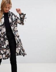 QED London satin floral kimono with piping - Black