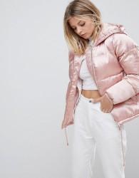 QED London Satin Padded Jacket - Pink