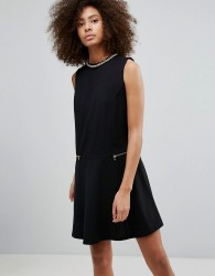 QED London Shift Dress With Zip Detail - Black
