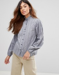 QED London Shirt With Frill Collar - Navy