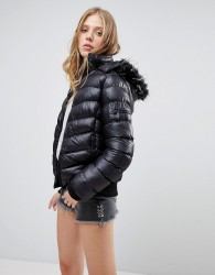 QED London Short Padded Jacket With Hood - Black