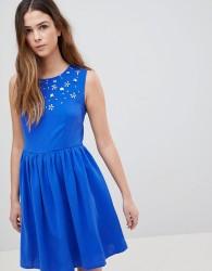 QED London Skater Dress With Embellished Detail - Blue
