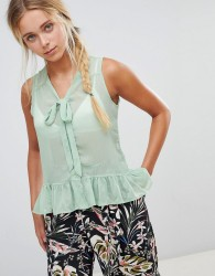 QED London Vest Top With Tie Detail - Green