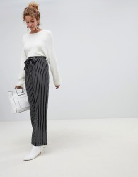 QED London wide leg stripe trousers with sash belt - Black