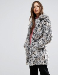 QED London Wild Cat Faux Fur Coat - Brown