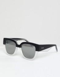 Quay Australia Don't Stop Round Sunglasses In Black/White - Black