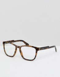 Quay Australia Hardwire square clear lens glasses in tort - Brown