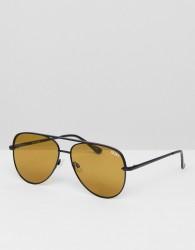 Quay Australia Sahara Aviator Sunglasses In Black/Olive - Black