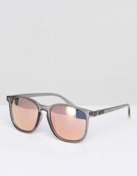 Quay Australia Square Sunglasses In Grey with Mirror Lens - Grey