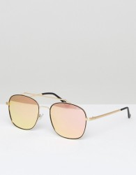 Quay Australia To Be Seen Aviator Sunglasses In Gold/Pink - Pink