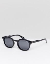 Quay Australia Walk On Round Sunglasses In Black - Black