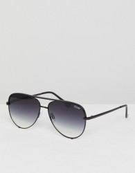 Quay Australia X Desi High Key Mini Aviator Sunglasses In Black Fade - Black